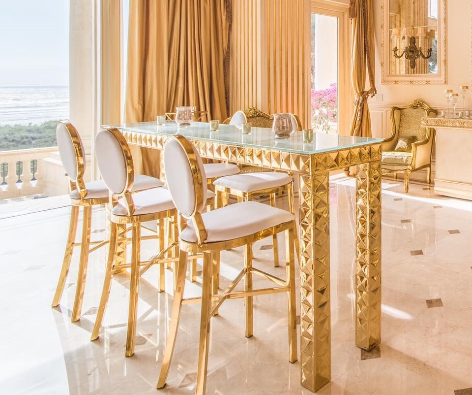 Gold White Interior Design: Chic Special Event Furniture Rentals